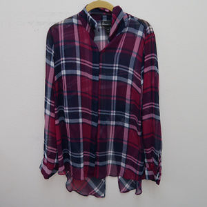 Lane Bryant Button Down Plaid Peplum Shirt Blouse